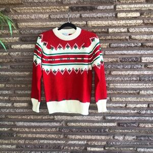 Vintage Red Red Ugly Christmas Pullover Sweater